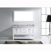 Julianna 60'' Double Bathroom Vanity Set in White, Italian Carrara White Marble Top with Round Sinks, Available with Optional Faucets, Mirror Included