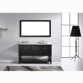 Julianna 60'' Double Bathroom Vanity Set in Espresso, Italian Carrara White Marble Top with Square Sinks, Available with Optional Faucets, Mirror Included