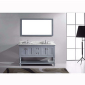 Julianna 60'' Double Bathroom Vanity Set in Grey, Italian Carrara White Marble Top with Square Sinks, Available with Optional Faucets, Mirror Included