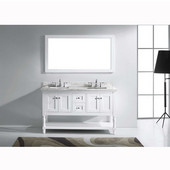 Julianna 60'' Double Bathroom Vanity Set in White, Italian Carrara White Marble Top with Square Sinks, Available with Optional Faucets, Mirror Included