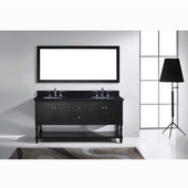 Julianna 72'' Double Bathroom Vanity Set in Espresso, Black Galaxy Granite Top with Round Sinks, Mirror Included