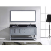 Julianna 72'' Double Bathroom Vanity Set in Grey, Black Galaxy Granite Top with Round Sinks, Polished Chrome Faucets, Mirror Included