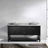 Julianna 72'' Double Bathroom Vanity Set in Espresso, Italian Carrara White Marble Top with Round Sinks
