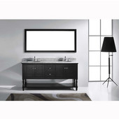 Julianna 72'' Double Bathroom Vanity Set in Espresso, Italian Carrara White Marble Top with Round Sinks, Available with Optional Faucets, Mirror Included