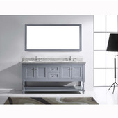 Julianna 72'' Double Bathroom Vanity Set in Grey, Italian Carrara White Marble Top with Round Sinks, Available with Optional Faucets, Mirror Included