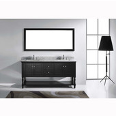 Julianna 72'' Double Bathroom Vanity Set in Espresso, Italian Carrara White Marble Top with Square Sinks, Available with Optional Faucets, Mirror Included