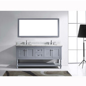 Julianna 72'' Double Bathroom Vanity Set in Grey, Italian Carrara White Marble Top with Square Sinks, Available with Optional Faucets, Mirror Included
