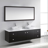 Clarissa 72'' Wall Mounted Double Bath Vanity Set in Espresso with White Engineered Stone Countertop, Polished Chrome Faucet and Mirror