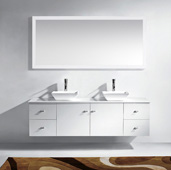 Clarissa 72'' Wall Mounted Double Bathroom Vanity Set in White, White Engineered Stone Top with Square Vessel Sinks, Faucets Available in 2 Finishes, (2) Medicine Cabinets Included