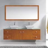 Clarissa 72'' Wall Mounted Double Bathroom Vanity Set in Honey Oak, White Engineered Stone Top with Square Vessel Sinks, Faucets Available in 2 Finishes, (2) Medicine Cabinets Included