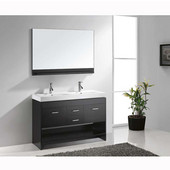 Gloria 48'' Double Bathroom Vanity Set in Espresso, White Ceramic Top with Integrated Square Sinks, Faucets Available in 2 Finishes, Mirror Included