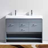 Gloria 48'' Double Bathroom Vanity Set in Grey, White Ceramic Top with Integrated Square Sinks, Polished Chrome
