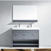 Gloria 48'' Double Bathroom Vanity Set in Grey, White Ceramic Top with Integrated Square Sinks, Faucets Available in 2 Finishes, Mirror Included