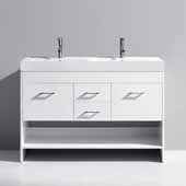 Gloria 48'' Double Bathroom Vanity Set in White, White Ceramic Top with Integrated Square Sinks, Polished Chrome
