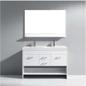 Gloria 48'' Double Bathroom Vanity Set in White, White Ceramic Top with Integrated Square Sinks, Brushed Nickel Faucets, Mirror Included