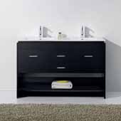 Gloria 48'' Double Bathroom Vanity Set in Espresso, Slim White Ceramic Top with Integrated Square Sinks, Polished Chrome Faucets