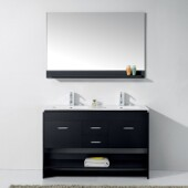 Gloria 48'' Double Bathroom Vanity Set in Espresso, Slim White Ceramic Top with Integrated Square Sinks, Polished Chrome Faucets, Mirror Included