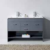 Gloria 48'' Double Bathroom Vanity Set in Grey, Slim White Ceramic Top with Integrated Square Sinks, Polished Chrome Faucets