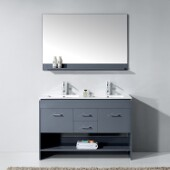 Gloria 48'' Double Bathroom Vanity Set in Grey, Slim White Ceramic Top with Integrated Square Sinks, Polished Chrome Faucets, Mirror Included