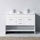 Gloria 48'' Double Bathroom Vanity Set in White, Slim White Ceramic Top with Integrated Square Sinks, Polished Chrome Faucets