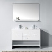 Gloria 48'' Double Bathroom Vanity Set in White, Slim White Ceramic Top with Integrated Square Sinks, Polished Chrome Faucets, Mirror Included