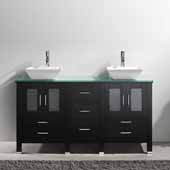 Bradford 60'' Double Bathroom Vanity Set in Espresso, Aqua Tempered Glass Top with Square Vessel Sinks, Polished Chrome Faucets