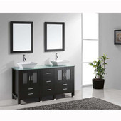 Bradford 60'' Double Bathroom Vanity Set in Espresso, Aqua Tempered Glass Top with Square Vessel Sinks, Faucets Available in 2 Finishes, (2) Mirrors Included