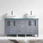 Bradford 60'' Double Bathroom Vanity Set in Grey, Aqua Tempered Glass Top with Square Vessel Sinks, Brushed Nickel Faucets