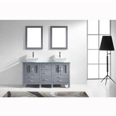 Bradford 60'' Double Bathroom Vanity Set in Grey, Aqua Tempered Glass Top with Square Vessel Sinks, Brushed Nickel Faucets, (2) Mirrors Included