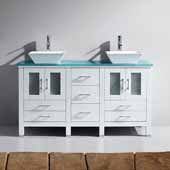 Bradford 60'' Double Bathroom Vanity Set in White, Aqua Tempered Glass Top with Square Vessel Sinks, Polished Chrome Faucets