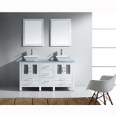 Bradford 60'' Double Bathroom Vanity Set in White, Aqua Tempered Glass Top with Square Vessel Sinks, Faucets Available in 2 Finishes, (2) Mirrors Included