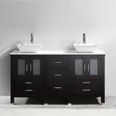 Bradford 60'' Double Bathroom Vanity Set in Espresso, White Engineered Stone Top with Square Vessel Sinks, Polished Chrome Faucets