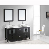 Bradford 60'' Double Bathroom Vanity Set in Espresso, White Engineered Stone Top with Square Vessel Sinks, Faucets Available in 2 Finishes, (2) Mirrors Included
