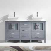 Bradford 60'' Double Bathroom Vanity Set in Grey, White Engineered Stone Top with Square Vessel Sinks, Brushed Nickel Faucets