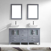 Bradford 60'' Double Bathroom Vanity Set in Grey, White Engineered Stone Top with Square Vessel Sinks, Polished Chrome Faucets, (2) Mirrors Included