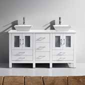 Bradford 60'' Double Bathroom Vanity Set in White, White Engineered Stone Top with Square Vessel Sinks, Polished Chrome Faucets