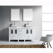 Bradford 60'' Double Bathroom Vanity Set in White, White Engineered Stone Top with Square Vessel Sinks, Faucets Available in 2 Finishes, (2) Mirrors Included