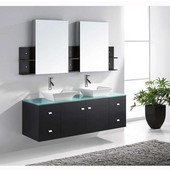 Clarissa 61'' Wall Mounted Double Bathroom Vanity Set in Espresso, Aqua Tempered Glass Top with Square Vessel Sinks, Faucets Available in 2 Finishes, (2) Medicine Cabinets Included