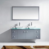 Clarissa 61'' Wall Mounted Double Bathroom Vanity Set in Grey, Aqua Tempered Glass Top with Square Vessel Sinks, Faucets Available in 2 Finishes, (2) Medicine Cabinets Included