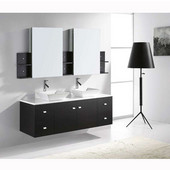 Clarissa 61'' Wall Mounted Double Bathroom Vanity Set in Espresso, White Engineered Stone Top with Square Vessel Sinks, Faucets Available in 2 Finishes, (2) Medicine Cabinets Included