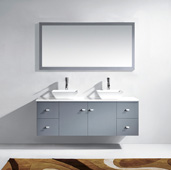 Clarissa 61'' Wall Mounted Double Bathroom Vanity Set in Grey, White Engineered Stone Top with Square Vessel Sinks, Faucets Available in 2 Finishes, (2) Medicine Cabinets Included