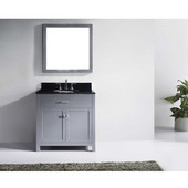 Caroline 36'' Single Bathroom Vanity Set in Grey, Black Galaxy Granite Top with Round Sink, Mirror Included
