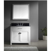 Caroline 36'' Single Bathroom Vanity Set in White, Black Galaxy Granite Top with Round Sink, Brushed Nickel Faucet, Mirror Included