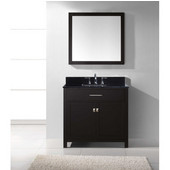 Caroline 36'' Single Bathroom Vanity Set in Espresso, Black Galaxy Granite Top with Square Sink, Brushed Nickel Faucet, Mirror Included