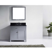 Caroline 36'' Single Bathroom Vanity Set in Grey, Black Galaxy Granite Top with Square Sink, Mirror Included