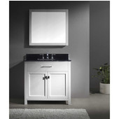Caroline 36'' Single Bathroom Vanity Set in White, Black Galaxy Granite Top with Square Sink, Mirror Included