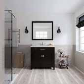 Caroline 36'' Single Bathroom Vanity Set in Espresso, Dazzle White Quartz Top with Round Sink, Polished Chrome Faucets, Mirror Included