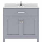 Caroline 36'' Single Bathroom Vanity Set in Grey, Dazzle White Quartz Top with Round Sink