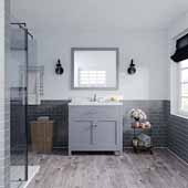 Caroline 36'' Single Bathroom Vanity Set in Grey, Dazzle White Quartz Top with Round Sink, Brushed Nickel Faucets, Mirror Included