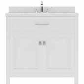 Caroline 36'' Single Bathroom Vanity Set in White, Dazzle White Quartz Top with Round Sink